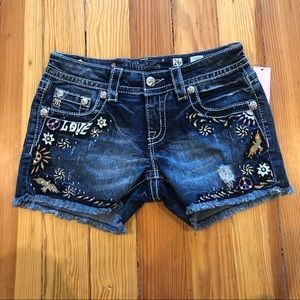 Miss Me - Love & Peace Denim Shorts